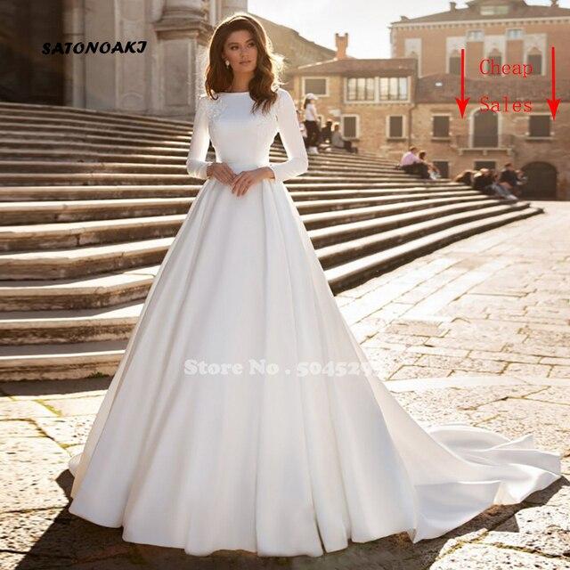 Simple Long Sleeve Wedding Dress 2020 for Women White Satin Princesa Bride Gowns Elegant Vestido Novia Robe De Mariée Sukienka 1