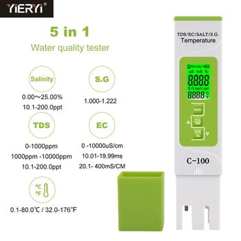 new tds ph meter ph tds ec temperature meter digital water quality monitor tester for pools drinking water aquariums Yieryi 5 in 1 TDS/EC/Salinity/S.G./Temperature Meter Digital Water Quality Tester for household, Pools, Drinking Water, Aquarium