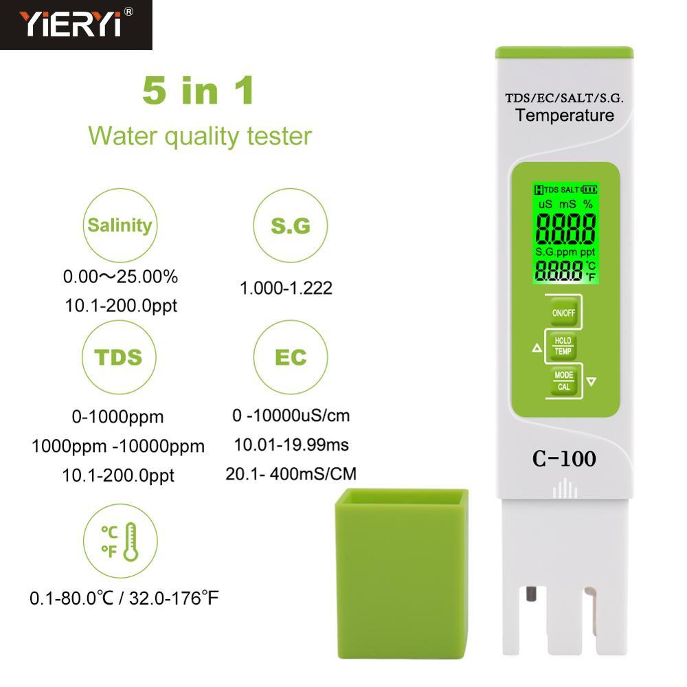 Aletler'ten PH Ölçerler'de Yieryi 5 in 1 TDS/EC/tuzluluk/S.G./Sıcaklık ölçer dijital su kalitesi test cihazı ev  havuzlar  içme suyu  akvaryum title=