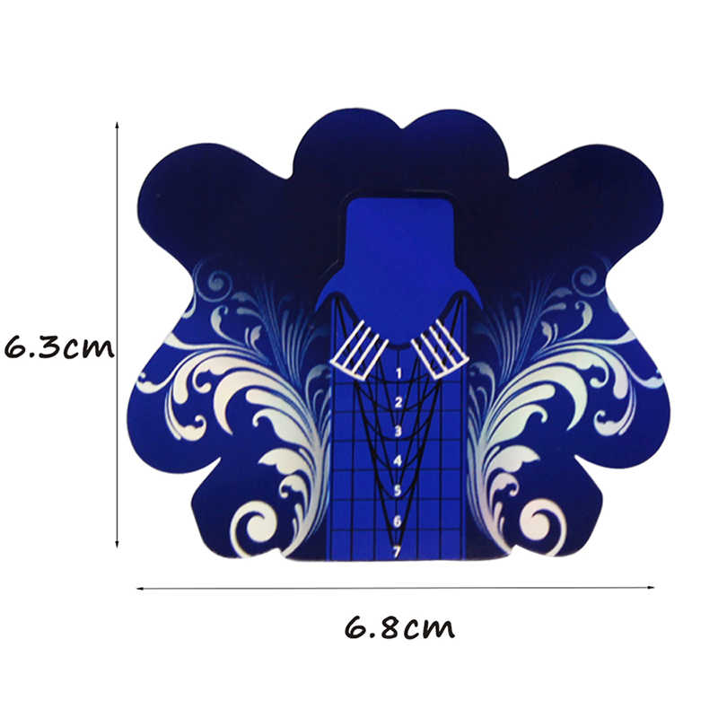 Jari Angel 50/100/500 Pcs Kuku Bentuk Stiker Colorful Blue Butterfly Bentuk Kuku Tips Panduan untuk UV Manikur Alat # FJH09