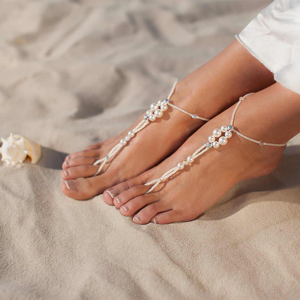 ฤดูร้อนยุโรปและสหรัฐอเมริกาใหม่ชายหาดลมบุคลิกภาพเพชรคริสตัลลูกปัด Anklet