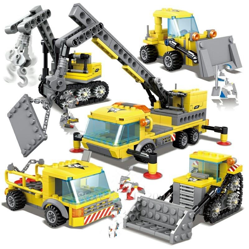 457Pcs Cidade Engenharia Bulldozer Escavadeira Guindaste Pesado Transporter LegoINGs Tijolos Blocos de Construção Figuras Brinquedos Presentes de Natal