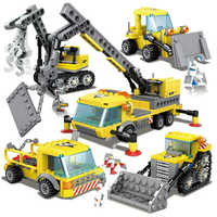457Pcs City Engineering Heavy Crane Transporter Bulldozer Excavator Bricks LegoINGs Building Blocks Figures Toys Christmas Gifts