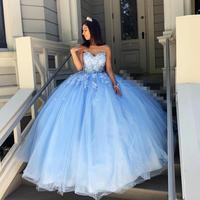 Sky Blue Simple Sexy Lace Quinceanera Prom Dresses Sweetheart Beaded Hand Made Flowers Tulle Evening Party Sweet 16 Gowns