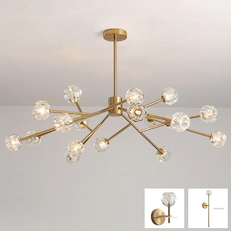 European golden copper color tree branch LED chandelier light G4 glass crystal LED chandelier lamp modern hanging light