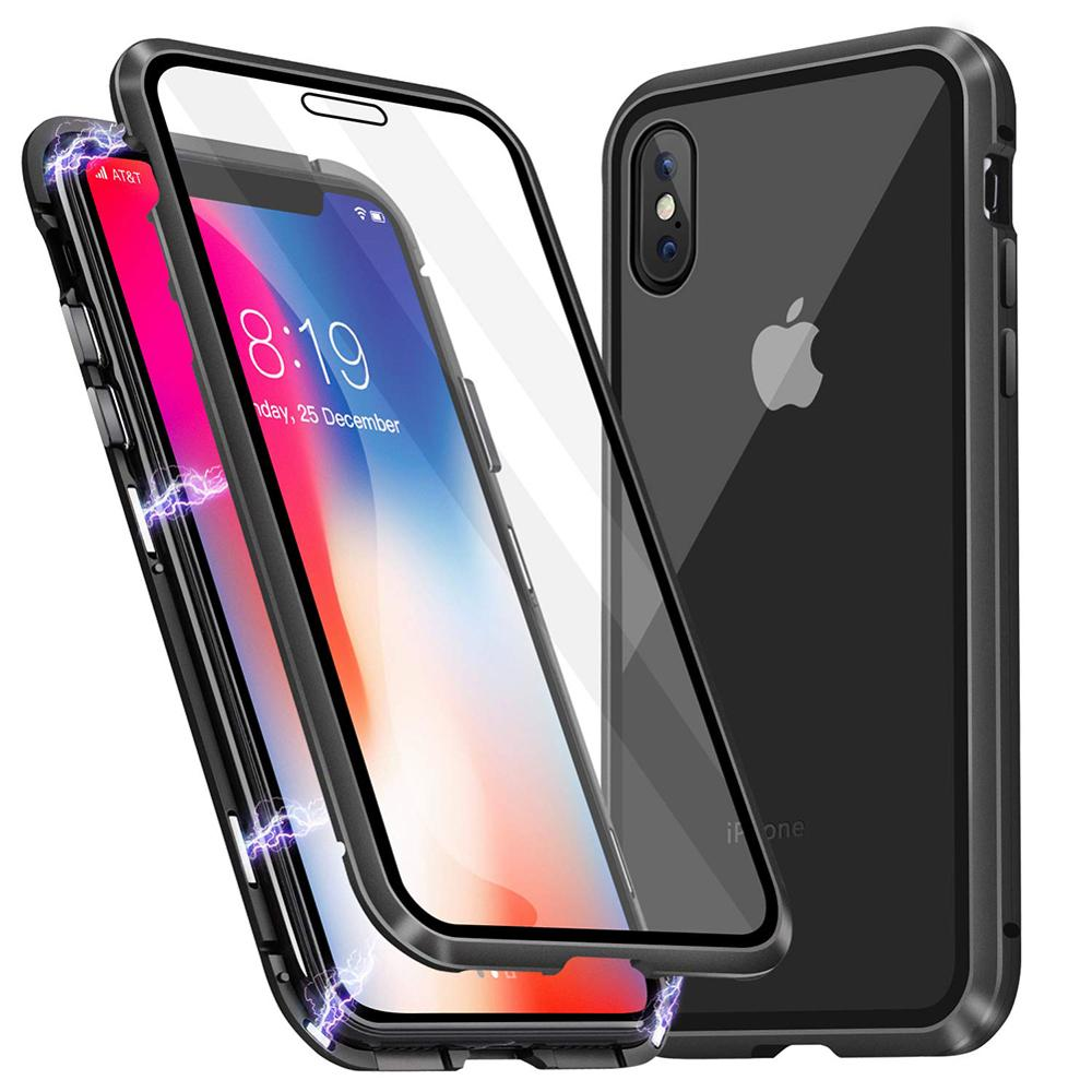 Luxury Magnetic case for iPhone XR metal glass case for iphone x/xs max/6/6s/7/8 plus bumper alumilum 360 full protection 50pcs-in Fitted Cases from Cellphones & Telecommunications