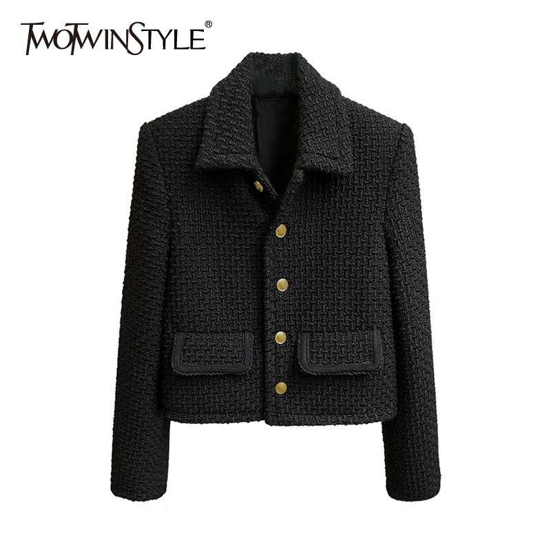 Tweed Jacket Clothing-Style Female Black Women Fashion Casual for Lapel Temperament New