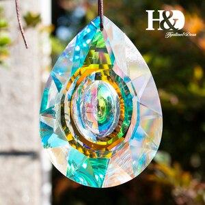 H&D 1pcs 76mm Hanging Crystal Lamp Prisms Parts AB Color Rainbow Maker Charms Chandelier Glass Drops Pendants Home Garden Decor