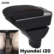 For Hyundai I20 armrest box USB Charging heighten Double layer central Store content cup holder ashtray in car accessories