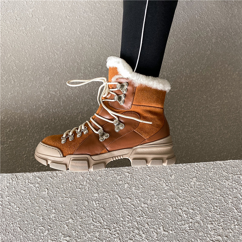 FEDONAS Cross Tied Women Quality Genuine Leather Ankle Boots Casual Office Shoes Woman Winter Vintage Warm Female Snow Boots 55