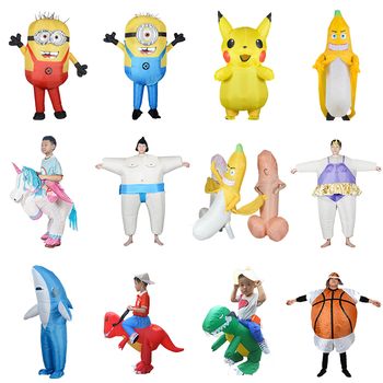 New Inflatable Costume Alien Sumo Basketball Minion Bananna Shark Dinosaur Pika Party Costumes Halloween Costumes For Adult kids pikaalafan giant inflatable toy christmas bar party costumes riding elk inflatable performance costumes puppet stage costumes