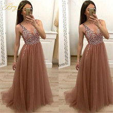 Sexy Crystal Evening Dresses 2019 Beaded Tulle V Neck Gowns Backless High Split Formal Robe De Soiree