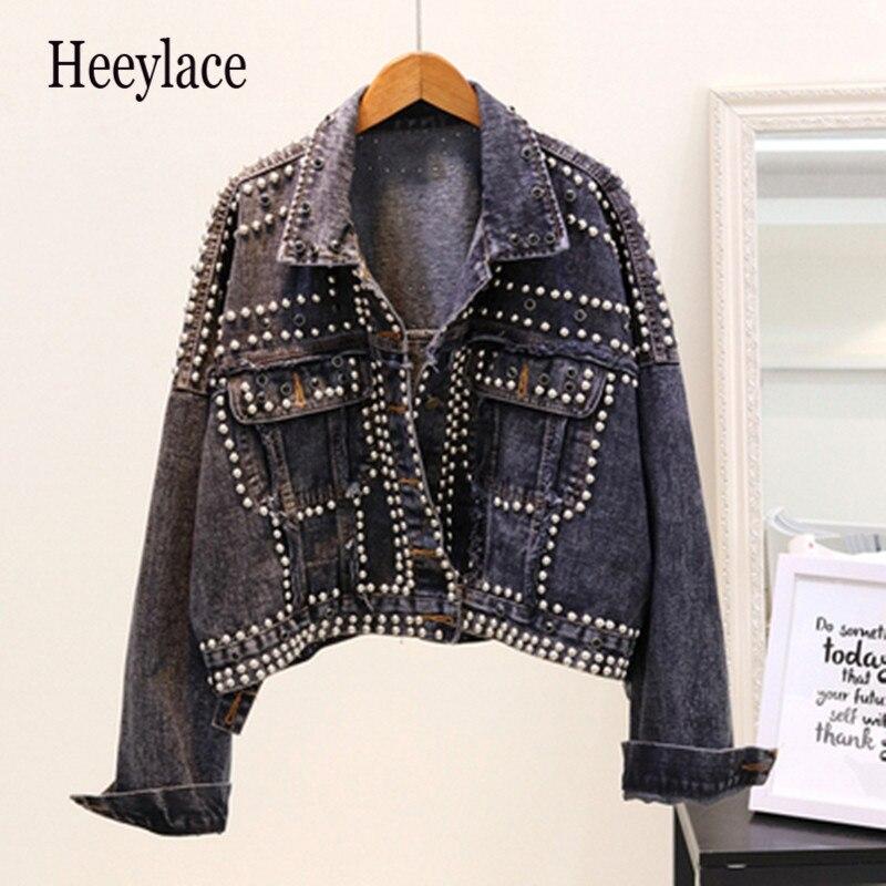 Женская джинсовая куртка с заклепками и заклепками, свободная верхняя одежда, повседневные короткие джинсовые пальто для студентов, осень ...