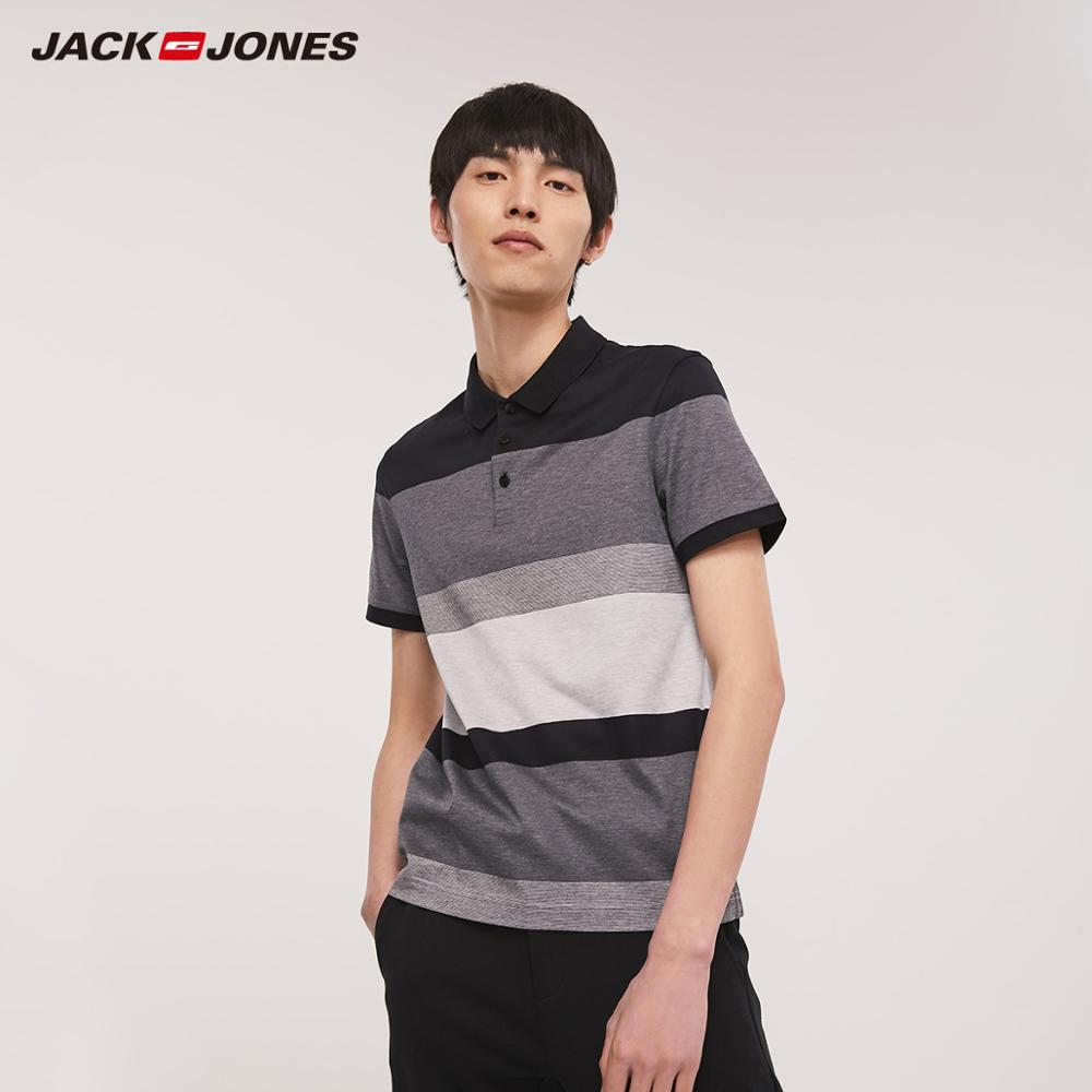 JackJones Men's 100% Cotton Striped Turn-down Collar Short-sleeved Polo Shirt|Streetwear 219206516