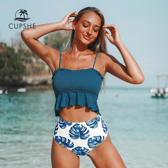 Cupshe smockedブルー葉印刷ビキニセット女性フリルハイウエストタンキニ二枚水着2020ガール自由奔放に生きる水着スーツ