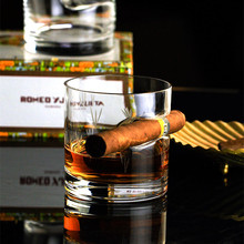 Bar Casino Cigar Holder Notch Crystal Whisky Glass Cigars Companion Whiskey Cup Brandy Snifters XO Chivas Wine Glasses Bicchiere(China)