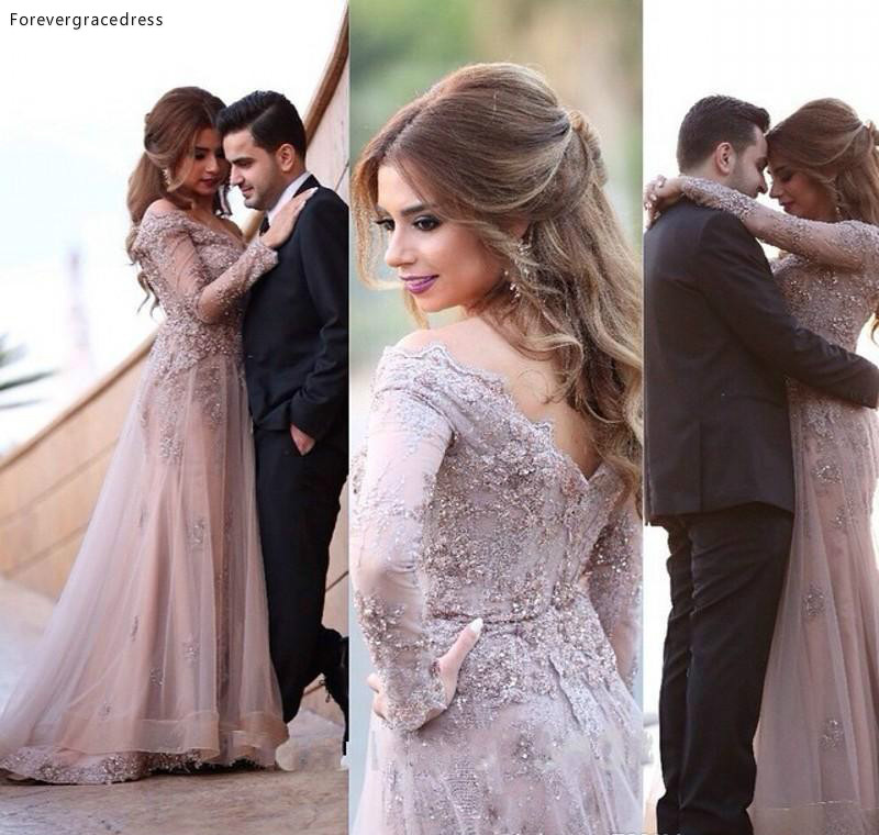 Vintage Arabia Long Sleeves Wedding Dress Cheap A Line Sexy V Neck Appliques Formal Bridal Gown Custom Made Plus Size