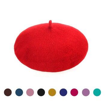 Retro Spring Winter Berets Hat Kids Girls Bailey Hat Dome Beret Warm Walking Solid Cap