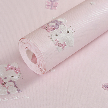 Cute 3D Pink Cartoon Cat Wallpaper Non-woven Childrens Room Girl Princess Warm Bedroom Wall Paper Roll