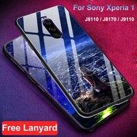Para Sony Xperia Caso 1 J8110 J8170 J9110 estrelado estrela de vidro Temperado tampa traseira caso de telefone difícil Para Sony 1 xperia1 shell de vidro