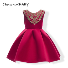 ChouchouBABY Baby Girls Gold Lace Neck Dresses Bow Kids Wedding Clothes Girl Summer Princess Dress