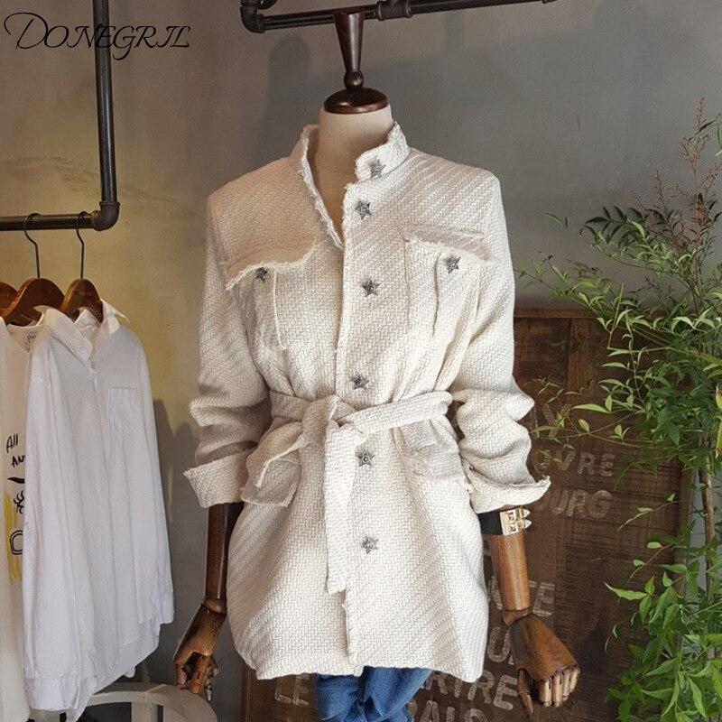 Autunno coreano Stand Collor sash Slim cappotti da donna New Fashion tasche monopetto giacche Star Appliques cappotto femminile