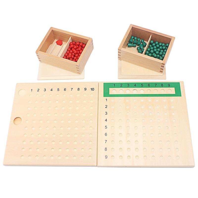 Деревянные игрушки Монтессори, доска для умножения и блок, искусственная доска с зелеными цифрами, таблицы для арифметических подарков