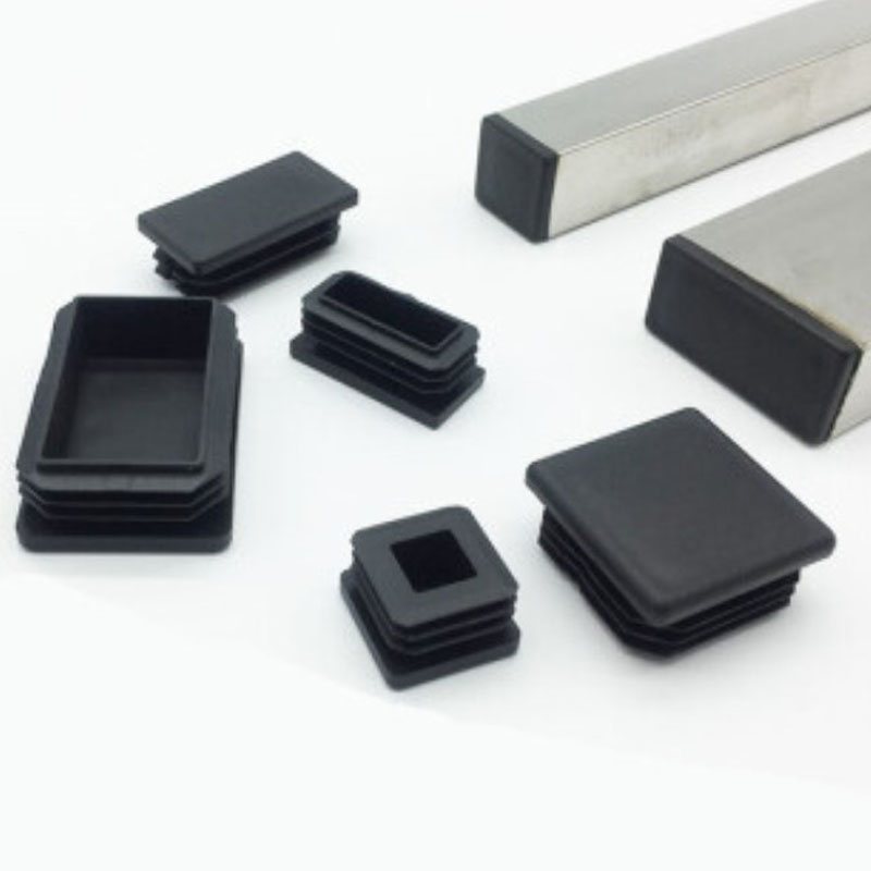 80pcs Black Plastic Blanking End Caps Rectangular Pipe Tube Cap Insert Plugs Bung For Furniture Tables Chairs Protector