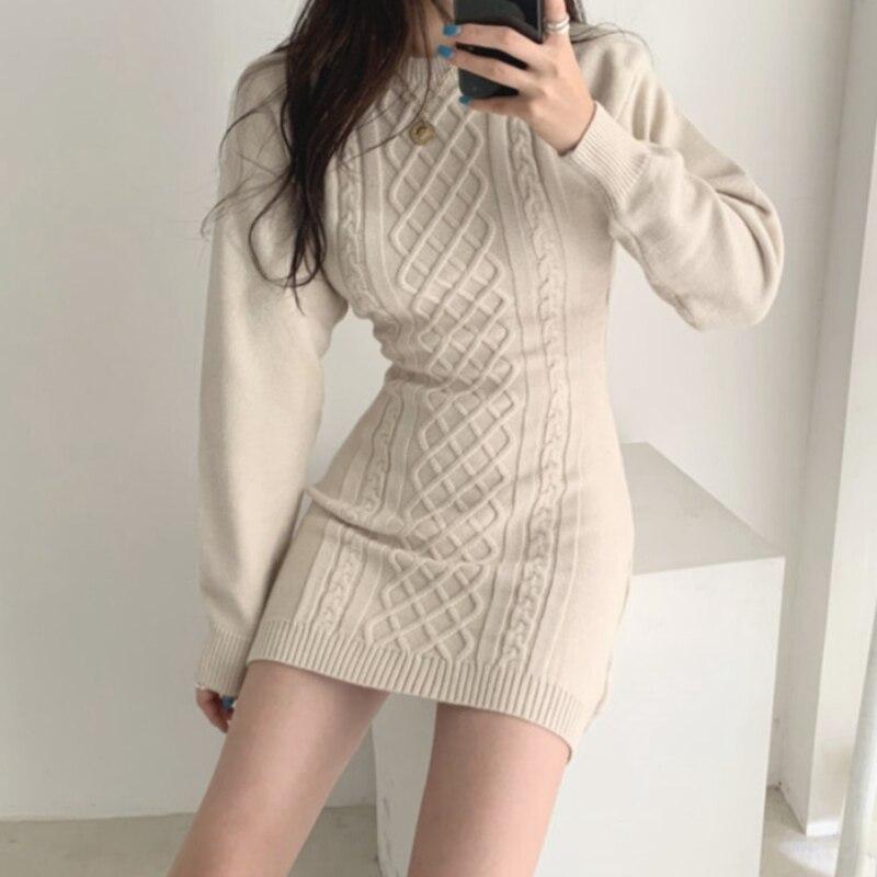 Women Dress Temperament Sexy Knit Backless Bottoming Dress 2020 Women Clothes Spring And Autumn Slim Fit Hip Sweater Dress Women