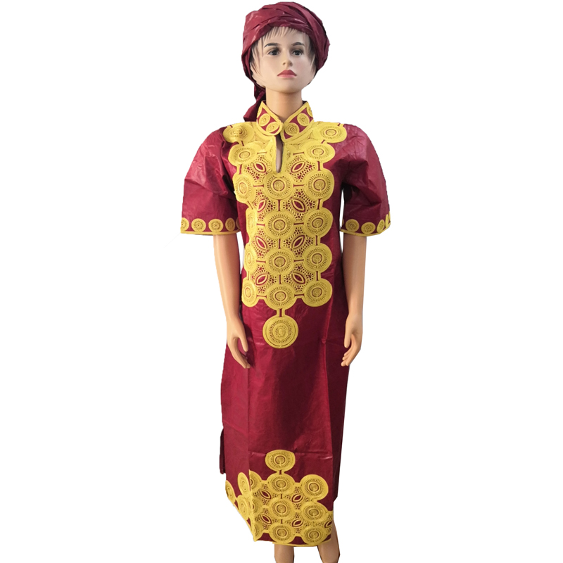 MD Gold Embroidery Dresses For Women African Traditional Dress Bazin Dress With Head Tie South Africa Lady Clothes Long Dresses