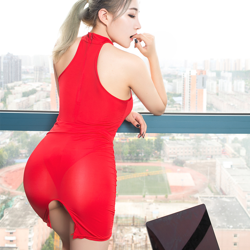 Sexy Secretary Costume Smooth High Transparent Polychromatic Collocation Suit Tight Short Dress Temptation Women Erotic Clothing