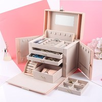 Locked Beauty Case PU Leather Bracelet Packaging Box Large Capacity Jewelry Box Multilayer Ring Storge Box Cosmetic Organizer