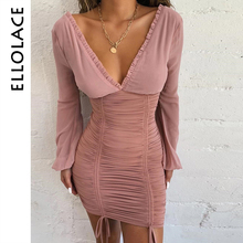 Ellolace 2019 Sexy Bodycon Mini Dress Women Deep V Long Sleeve Ruched Autumn Casual Backless Dresses Slim Midi New Party