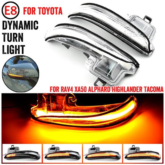 2 pcs Turn Signal Mirror Light For Toyota RAV4 Highlander 2019 2020 Side Wing Mirror LED Dynamic Rearview Turn Signal Car Lights