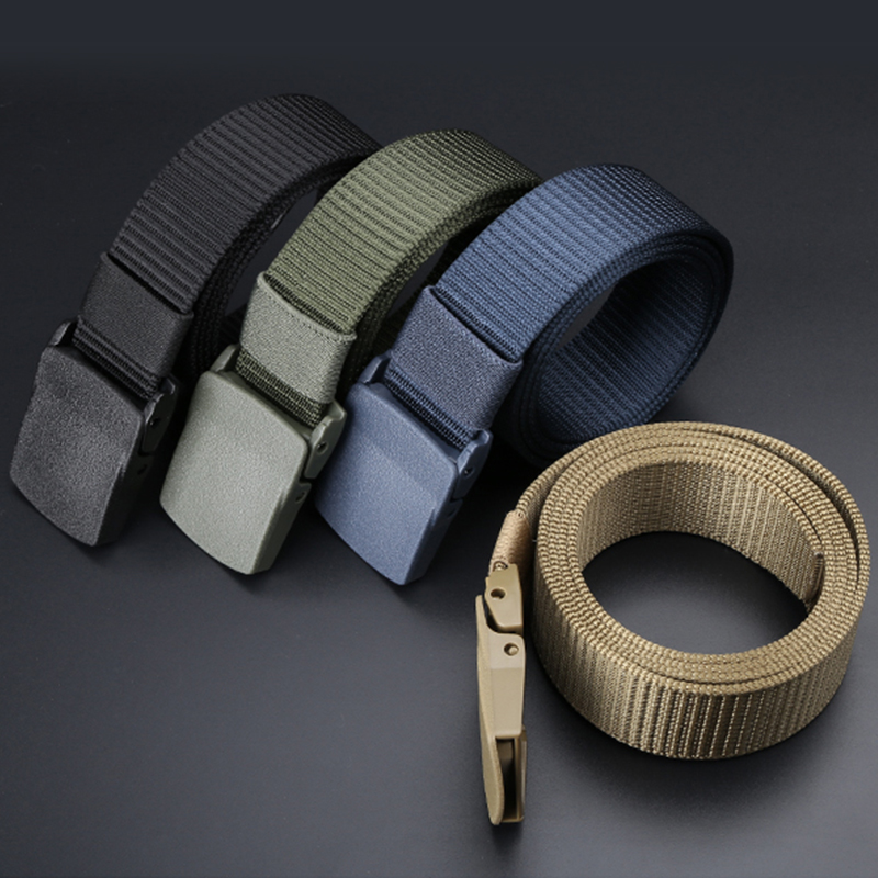 High Quality   Belt   Long Plastic Buckle Waist Webbing Canvas Wide Military Training Nylon Tactical   Belts   for Men Jeans No Metal