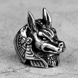Stainless Steel Men Rings Egyptian Pharaoh Nessus Dog Animal Punk Rock for Male Boyfriend Jewelry Creativity Gift Wholesale