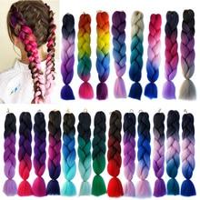 24 inch Jumbo Braids Long Ombre Jumbo Synthetic Hair Braids Crochet Blonde Pink Grey Blue Hair Extensions 100g