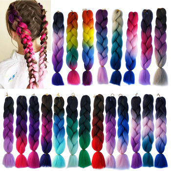 24 inch Jumbo Braids Long Ombre Synthetic Hair Crochet Blonde Pink Grey Blue Extensions 100g