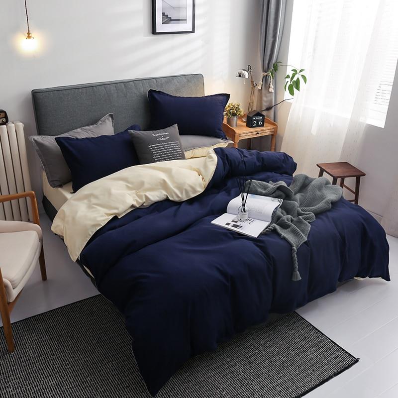 Winter new Dark blue beige double color bedding set bed flat sheet duvet cover pillowcase queen full single