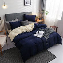 Winter new Dark blue beige double color bedding set bed linen flat bed sheet duvet cover pillowcase queen full single 3 / 4pcs(China)