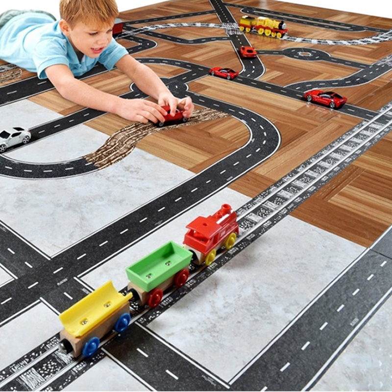 Cute Kawaii Kid's Diy Traffic Washi Tape Stickers Rail/Road Tape Car/Train/Curve Stickers Paper Novelty Gifts DIY Puzzle Toys