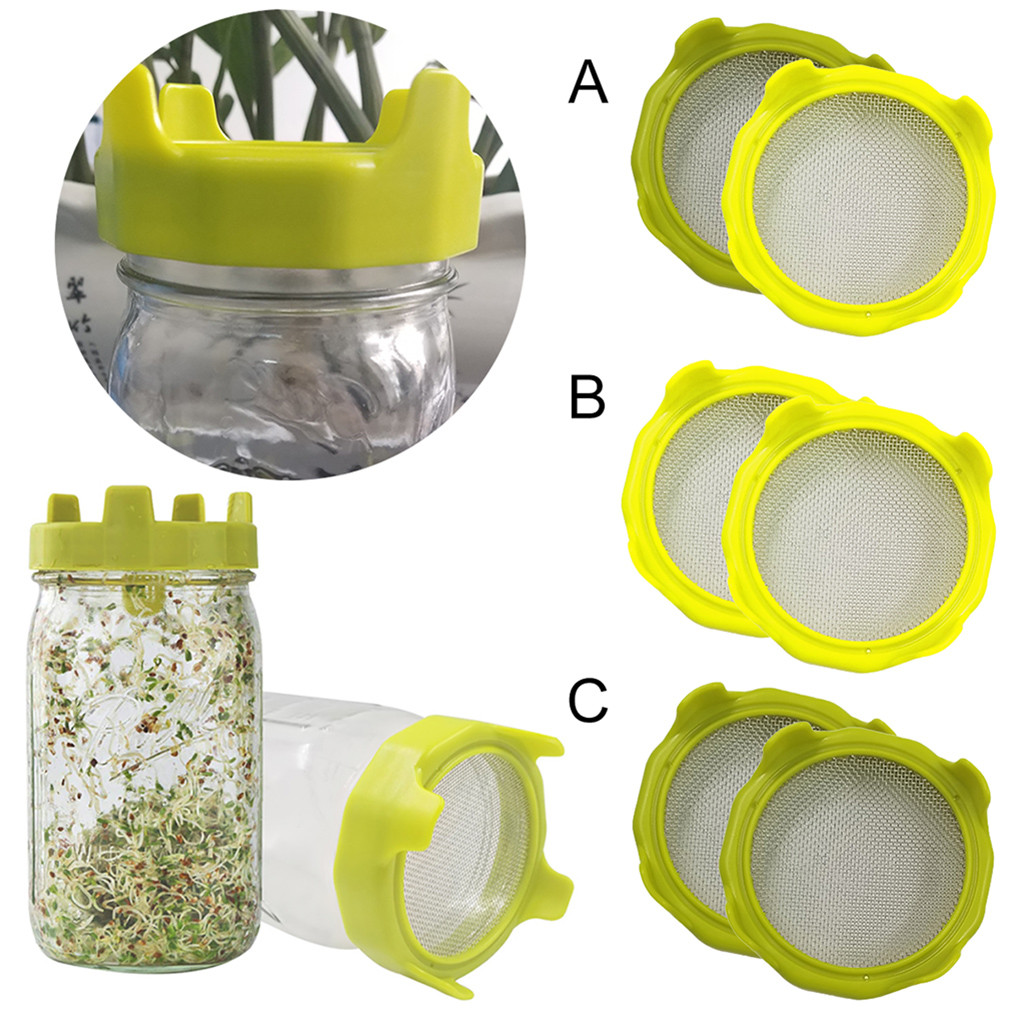 Stainless Steel Strainer Screen for Canning Jars for Making Organic Sprout Seeds In Your Kitchen 6 Pack G.a HOMEFAVOR Sprouting Kit for Wide Mouth Mason Jars