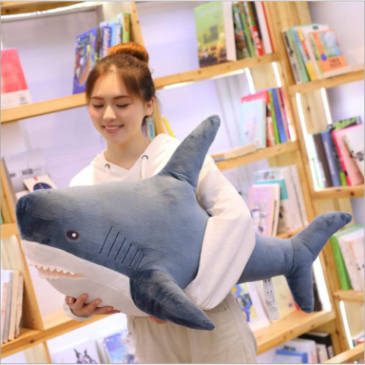 60/80/100/140cm Soft Shark Plush Toy Stuffed Shark Toy Pillow For Kids Birthday Gift Or Shop Home Decoration