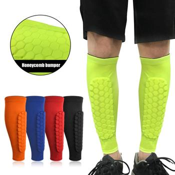 Discount! 1PC Honeycomb Shin Guard Professional Sports Football Shields Soccer Legging Shinguards Leg Sleeves Protective Gear image