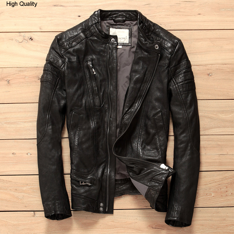 Korean Fahsion Slim Fit Genuine Leather Jacket Men Stand Collar Diagonal Zipper Brand Motorcycle Jacket For Men Leather Clothing