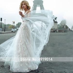 Image 5 - Fairy Lace Wedding Dress 2020 Swanskirt V neck Appliques A Line Flowers Princess Court Train Bride Gown vestido de noiva GY00