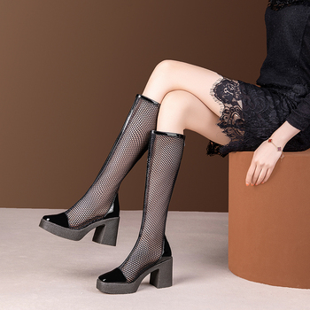 women boots high quality square high heels zipper new fashion black summer shoes woman knee high boots size 34-39 riding boots