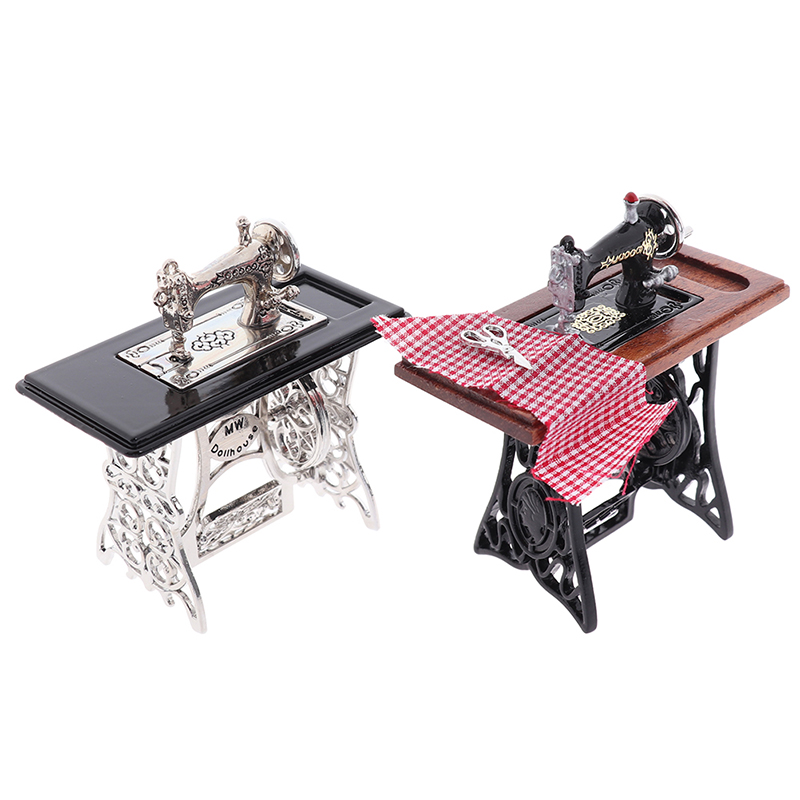 Dollhouse Decor Miniature Furniture Wooden Sewing Machine With Thread Scissors Accessories For Dolls House Kids Toys For Girls