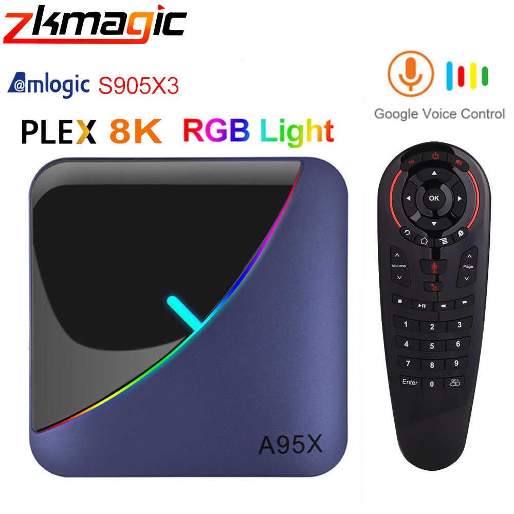 ZKMAGIC A95XF3 אנדרואיד 9.0 טלוויזיה תיבת RGB אור האחרון Amlogic S905X3 שבב Wifi ממיר YouTube 8K Plex חכם טלוויזיה תיבה