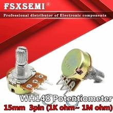 2 stücke WH148 B1K B2K B5K B10K B20K B50K B 100K B250K B500K B1M Potentiometer 3pin 15mm Welle 1K 2K 5K 10K 20K 50K 100K 250K 500K 1M